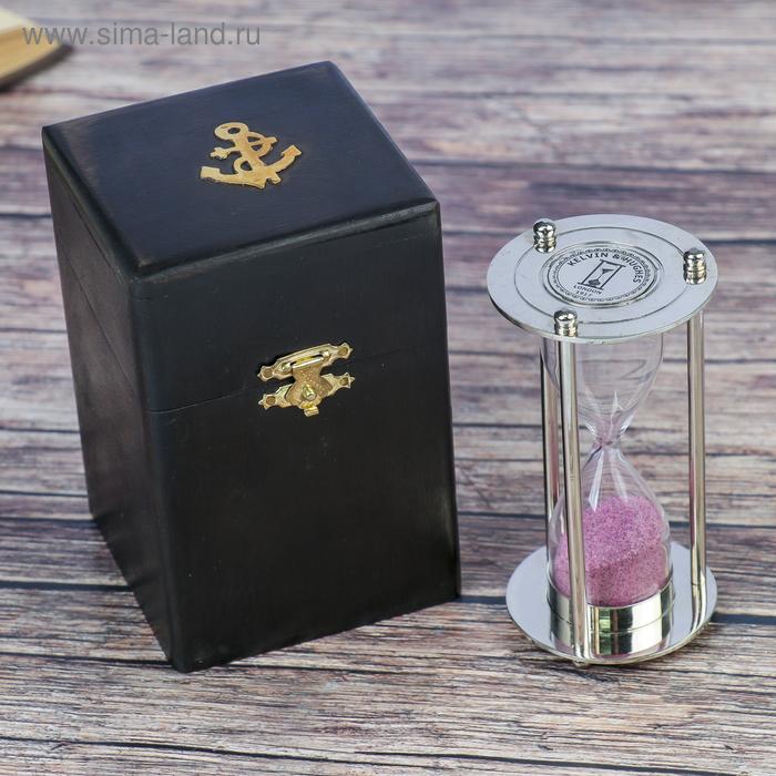 """Сувенирные песочные часы в тёмной шкатулке (3 мин) """"Рельеф"""""""