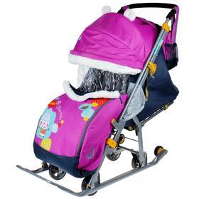 Санки коляска «Ника детям 7-2. Коллаж - снеговик/орхидея» с выдвижными колёсами