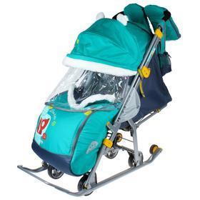 Cанки коляска «Ника детям 7-2. Коллаж - лисички/изумруд» с выдвижными колёсами