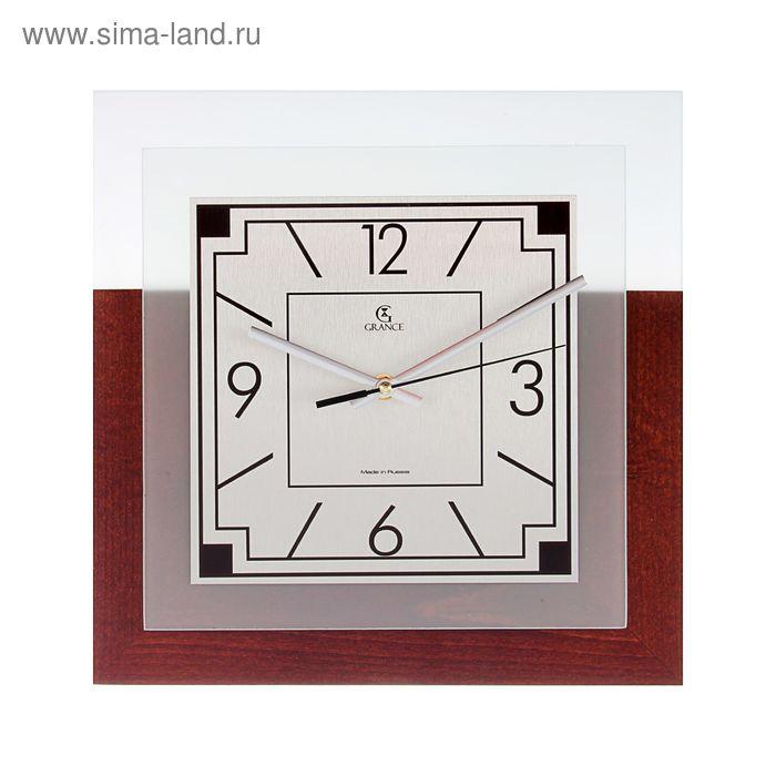 """Часы настенные GS-03  """"ТЕМНЫЙ ОРЕХ"""" (дерево, металл, стекло) 310х310х40 мм"""