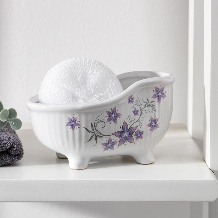"""Подставка 250 мл с губкой ванна """"Звездные цветы"""""""