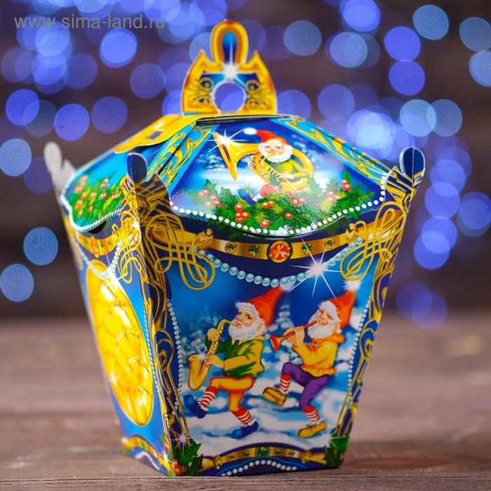"""Подарочная коробка """"Фонарик резной синий"""" сборная, 13х13х13.5 см"""