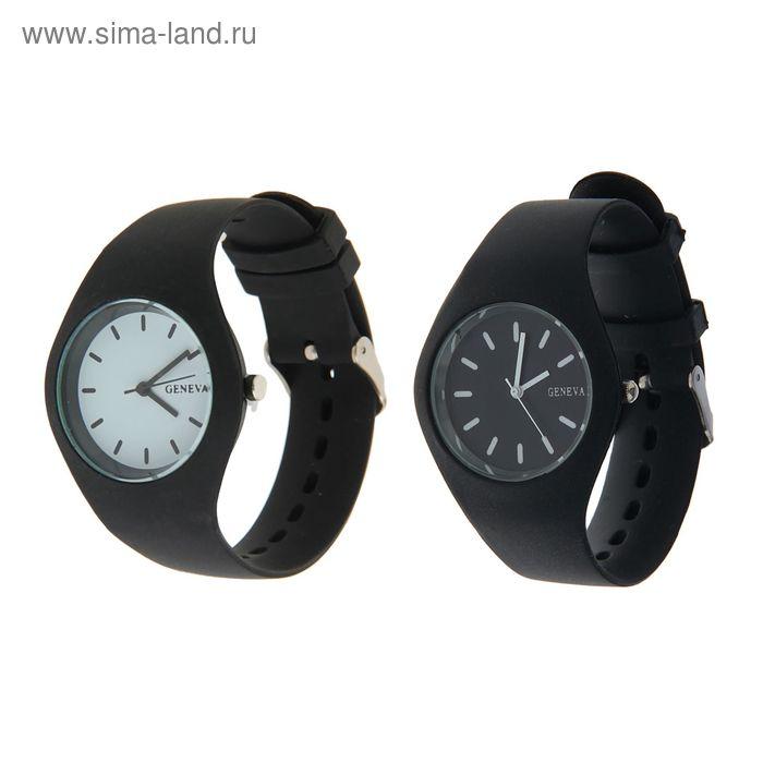 Часы наручные женские силиконовый ремешок и корпус  черного цвета, Geneva циферблат микс
