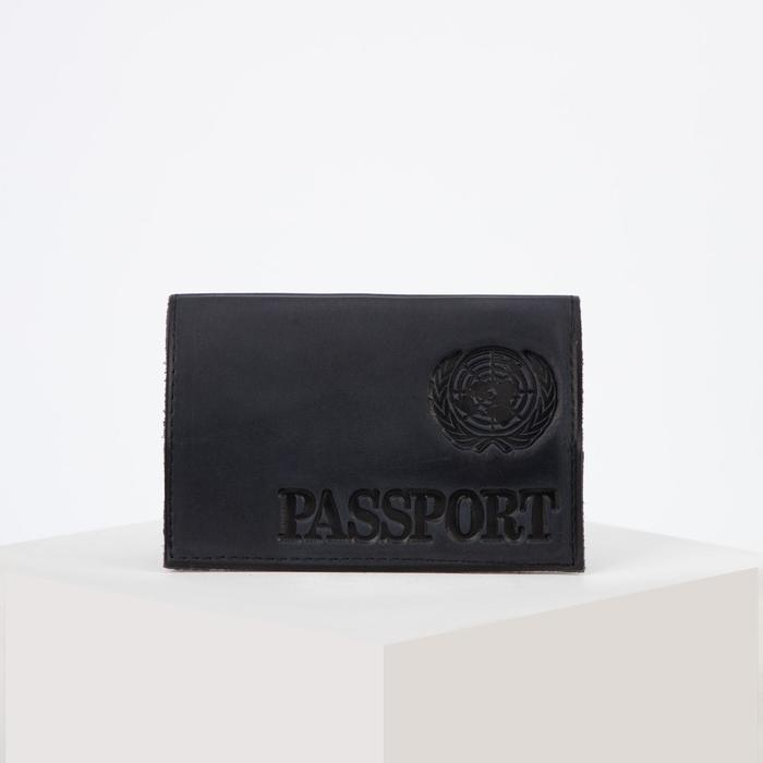 Cover for passport, latin letters, color dark blue