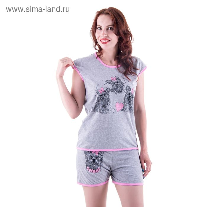 Пижама женская (майка, шорты) п73 МИКС, р-р 50 кулирка