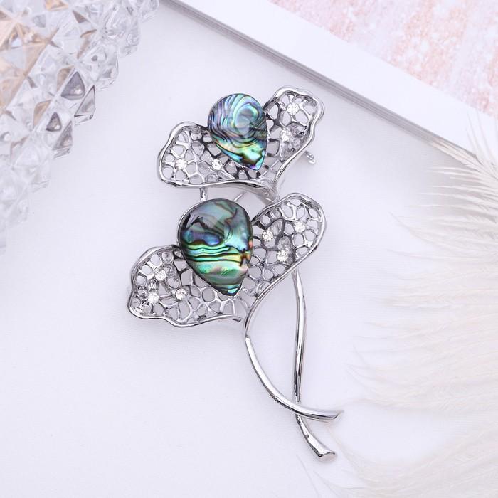 """Brooch """"Abalone"""" flower in silver"""