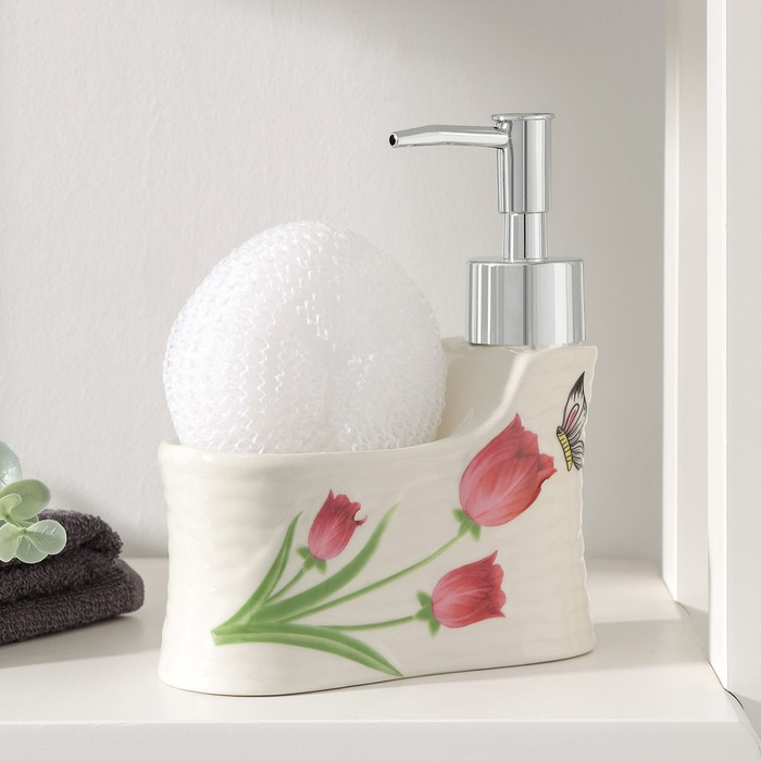 "The detergent dispenser 220 ml with sponge ""butterfly on a Tulip"""