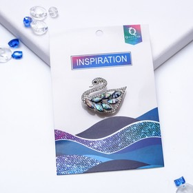 "Brooch ""Abalone"" Swan, color: green"