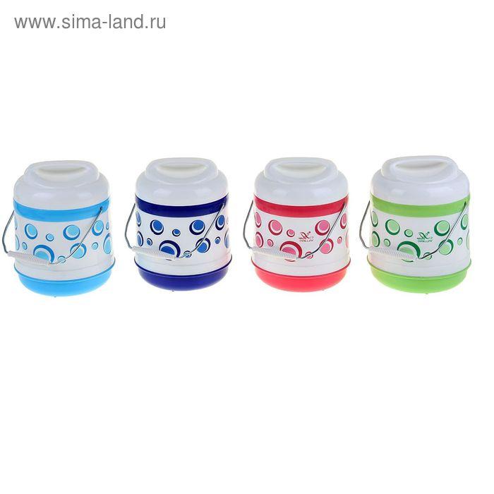 "Термос суповой ""Пузырьки"" (внутри пластик) 1,3 л, 1 тарелка, цвета МИКС"
