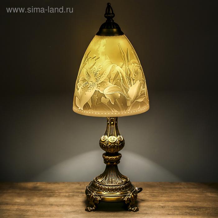 """Лампа настольная керамический абажур """"Лилии"""""""