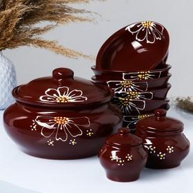 """Набор """"Для пельменей"""" коричневый, 9 предметов: кастрюля 2л, соусник 2х0,23 л/ 0,15 л, миска 6х0,4л"""