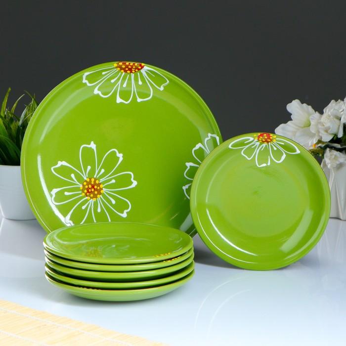 """Набор для блинов """"Псковский"""", 7 предметов: блюда d=24 см, 16 см, цвет зелёный"""