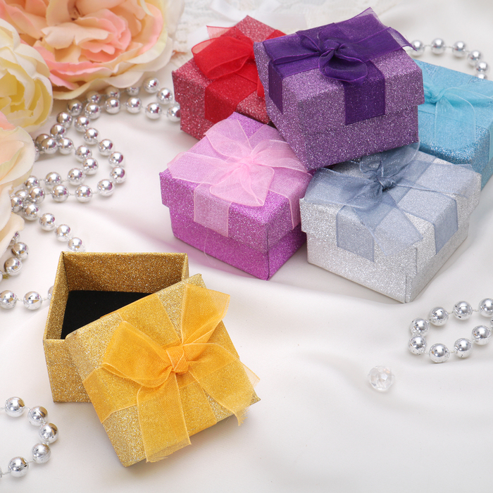 "The gift box under the ring ""Paillette"", 5*5*3,5, MIX color"