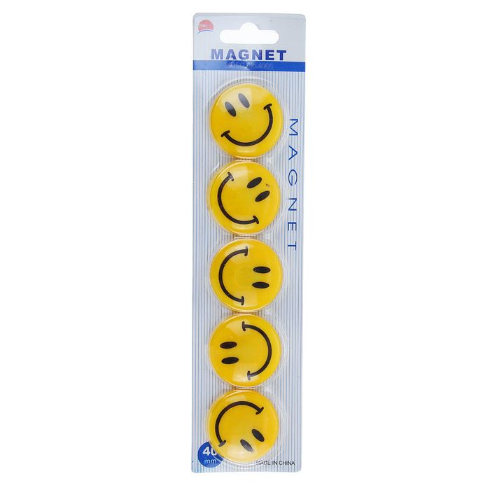 Set of magnets for whiteboard, 5 pieces, Smile 4 d cm, blister