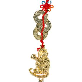 Pendant Monkey with a knot of happiness three coins in gold