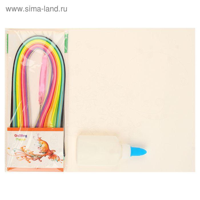 """Набор д/квиллинга 160 полосок шир.0,3 см,инструмент,клей """"Цветочный букет"""" МИКС 29,3х21,3 см"""