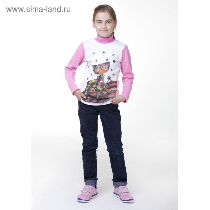 """Джемпер для девочки """"Кошка со стразами"""", рост 122 см (32), цвет коралловый"""