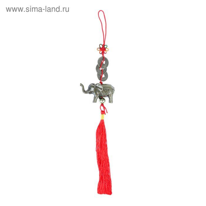 """Подвеска """"Слон"""" с узлом счастья из трех монет под бронзу"""