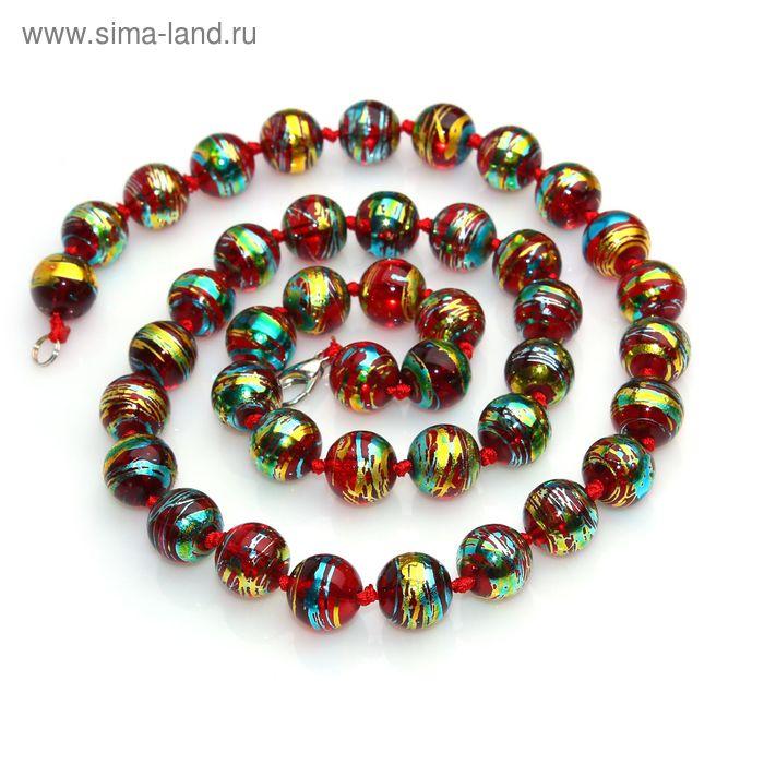"""Бусы шар №12 """"Стекло"""" через узел, цвет бордовый, 45см"""