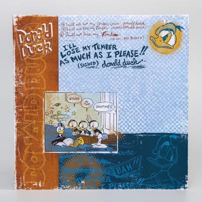 """Paper for scrapbooking """"Old's cool: Donald Duck"""", Mickey mouse and friends, 29.5 x 29.5 cm, 160 g/m2"""