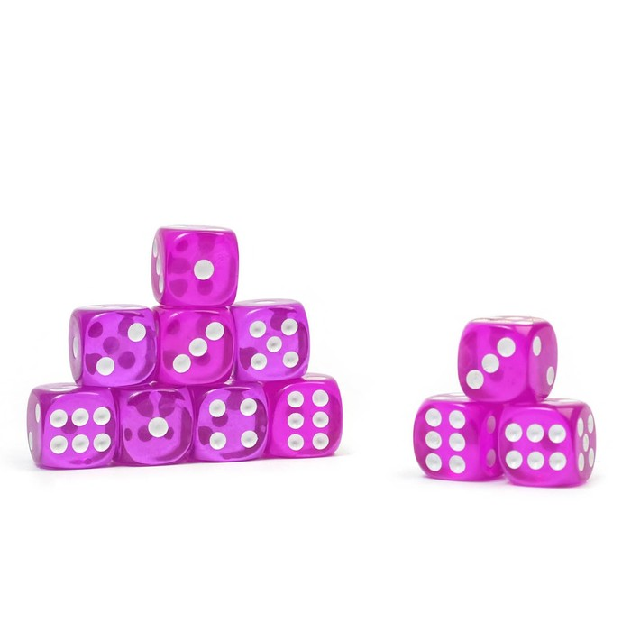 Dice 1.4x1.4 cm, transparent, Packed 100 PCs, mix