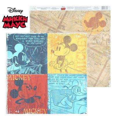 "Paper for scrapbooking ""Old's cool: Mickey"", Mickey mouse and friends, 29.5 x 29.5 cm, 160 g/m2"