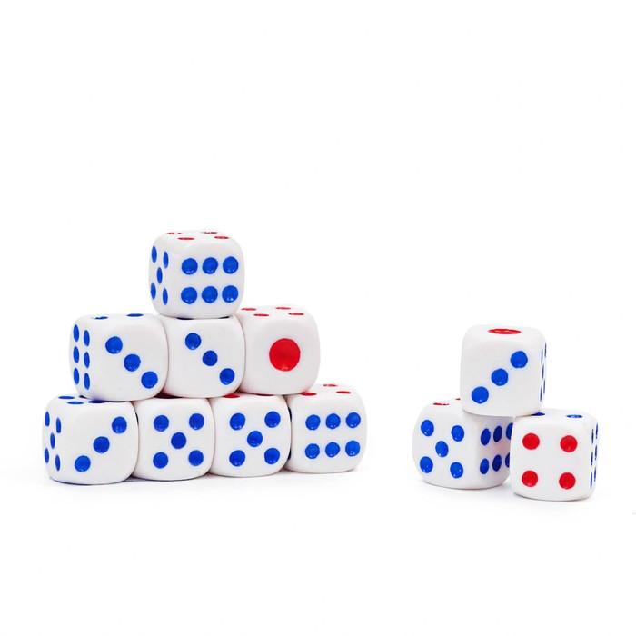 Кости игральные 1 × 1 см, белые с цветными точками, фасовка 100 шт.