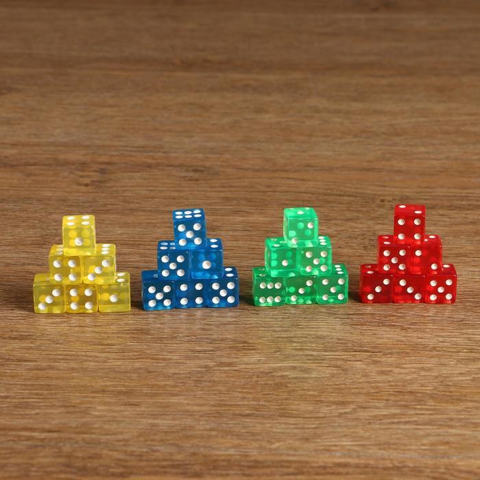 Кости игральные 1,6 × 1,6 см, прозрачные цветные с белыми точками, микс, фасовка 100 шт.