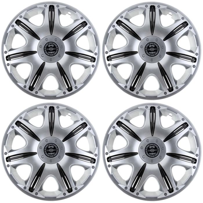 """Колпаки колесные R14 """"Опус"""" Super Silver, набор 4 шт."""