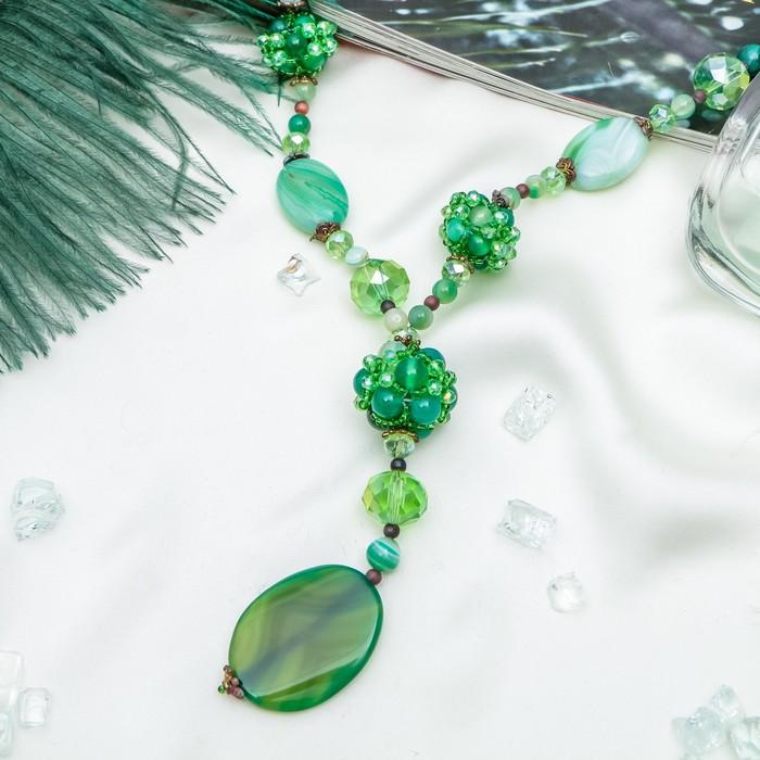 """Кулон тайна востока """"Агат"""" цвет зелёный, 60 см"""