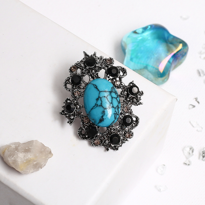 Brooch small flower Turquoise