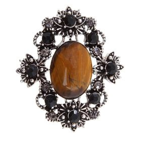 "Brooch flower small ""Tiger's eye"""
