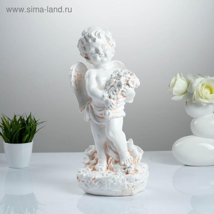 """Статуэтка """"Ангел с цветами"""" большая, бежевая"""