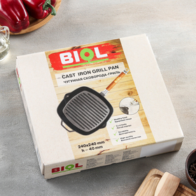 Grill pan 24x24 cm, with a removable handle, without a lid.