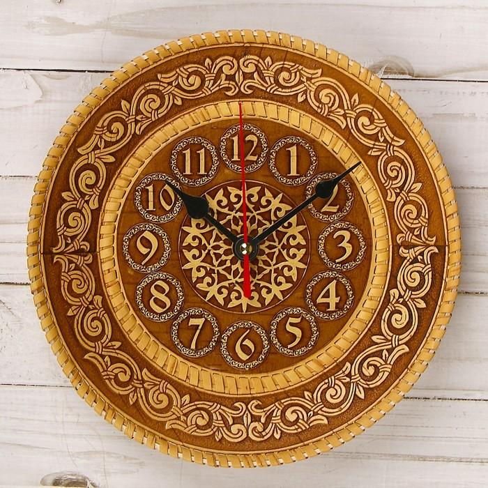 Часы, 21×21 см, береста