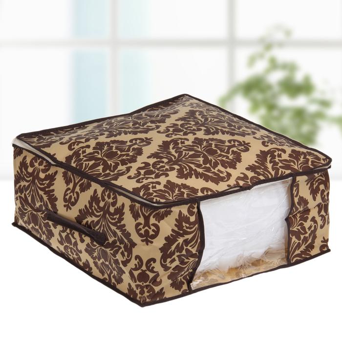 """Кофр для хранения вещей, 45х45х20 см """"Вензель"""", цвет коричнево-бежевый"""