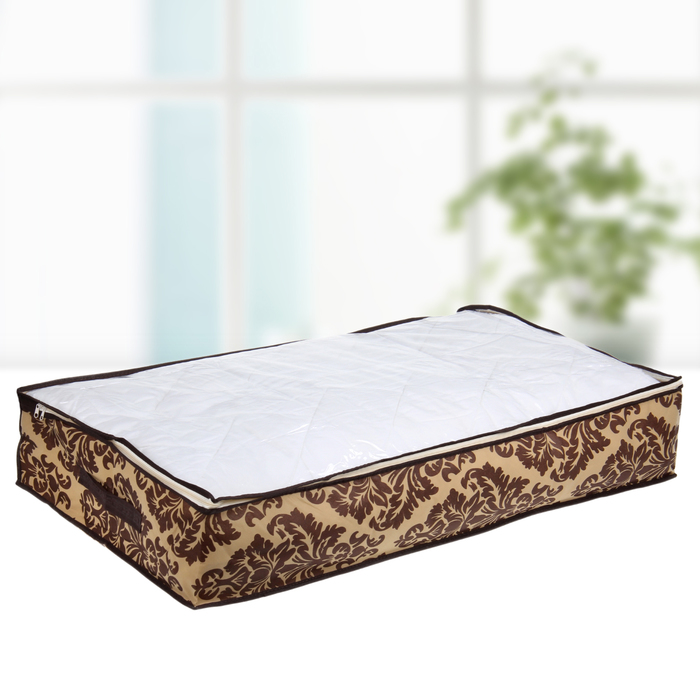 """Кофр для хранения вещей 80×45×15 см """"Шоколатье"""", цвет коричнево-бежевый"""