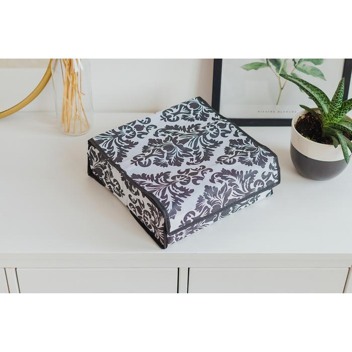 Органайзер для белья с крышкой «Вензель», 16 ячеек, 30×30×10 см, цвет чёрно-белый
