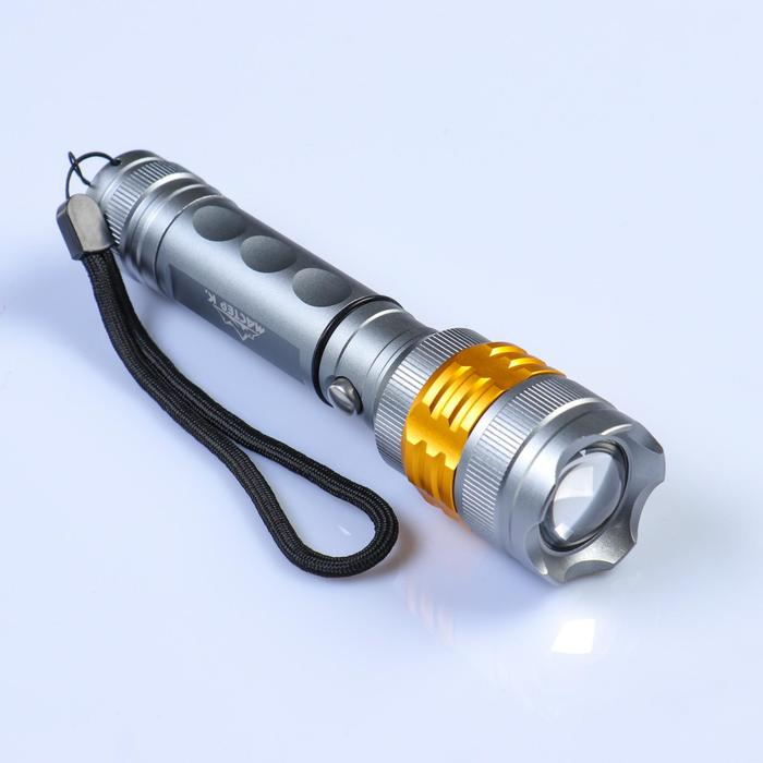 The professional flashlight, rechargeable, 3 modes, charging from the network, mix, 16.5x4x4 cm.
