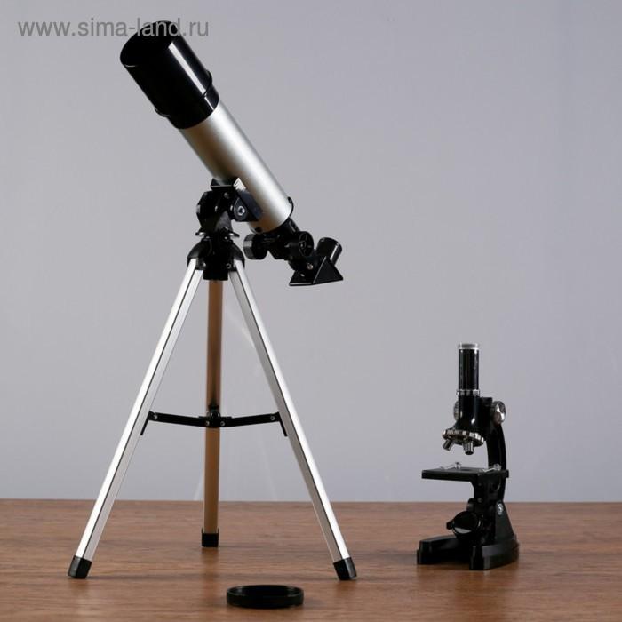 Набор телескоп х90 d=50 мм + микроскоп х1200 с подсветкой, 2АА