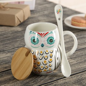 """Mug 380 ml of """"Owl"""" with lid and spoon, MIX colors"""
