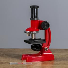 Микроскоп детский, увеличение х100, 200, 300, без лупы, красный Ош