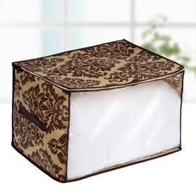 """Кофр для хранения вещей, 45×35×30 см """"Вензель"""", цвет коричнево-бежевый"""