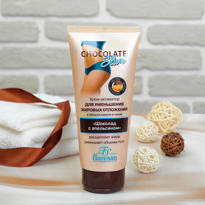 Activator cream for reducing belly and waist fat deposits. Chocolate with orange.