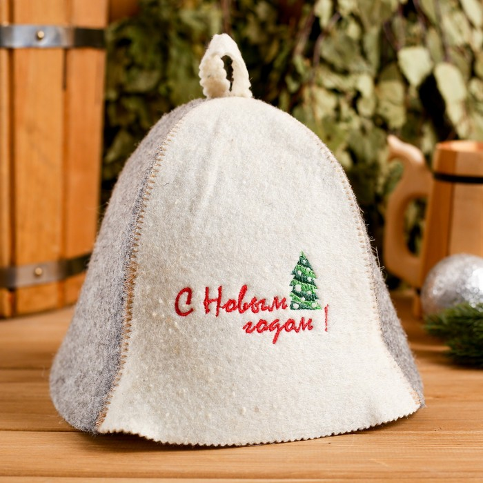 "Cap for sauna hat ""happy New year! Tree"""