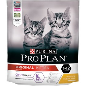 Dry food PRO PLAN for kittens, chicken / rice, 400 g.