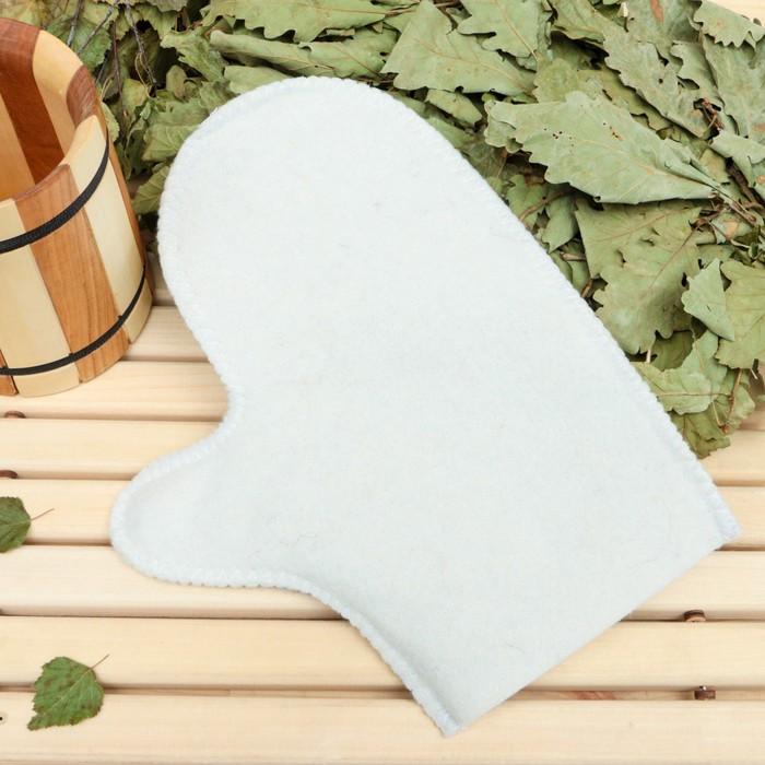 Рукавица для бани и сауны «Классическая», белая