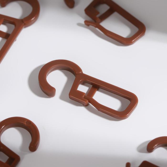 Крючок для штор, на кольцо, цвет коричневый