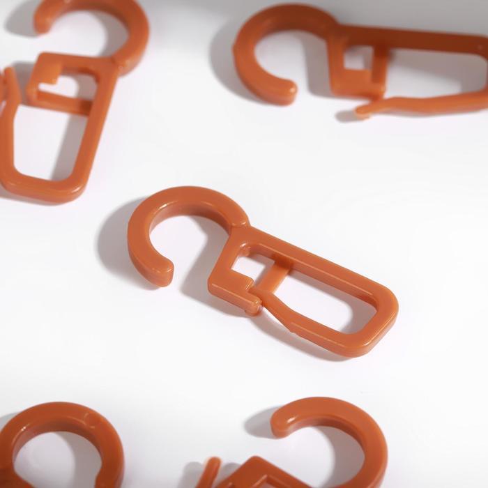 Крючок для штор, на кольцо, 3 × 1,3 см, цвет черешня