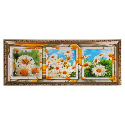"""Часы-картина настенные, серия: Цветы, """"Летние ромашки"""", 35х100  см, микс"""